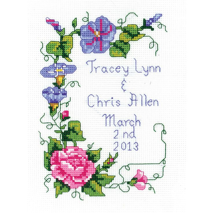 "Wedding Floral Mini Counted Cross Stitch Kit-5""X7"" 14 Count by Janlynn"