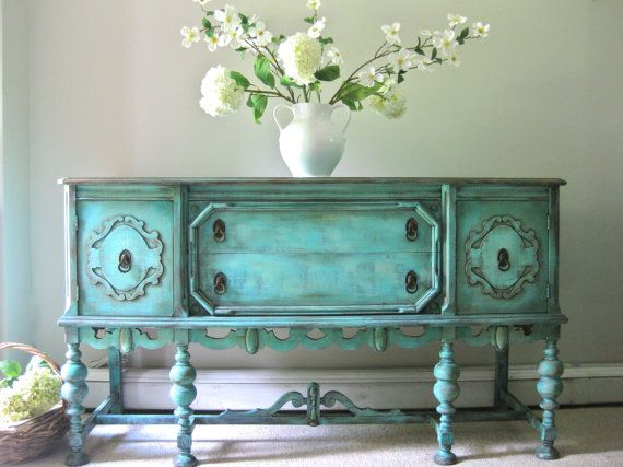 Hand Painted French Country Cottage Chic Shabby Romantic Vintage Victorian Jacobean Teal Sideboard Cabinet Buffet. Love the color