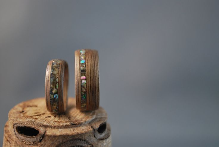Wood Ring Set - Wood Wedding Bands - Wooden Wedding Band Set - Black Walnut Wedding Bands - Abalone Inlay Rings - Wood Wedding Rings -Custom