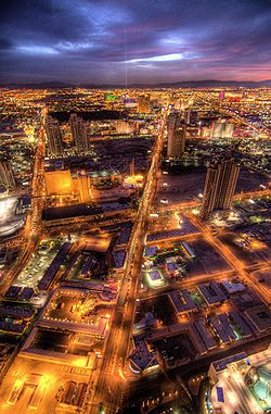 A view of the Las Vegas Valley looking south from the Stratosphere Tower at dusk.