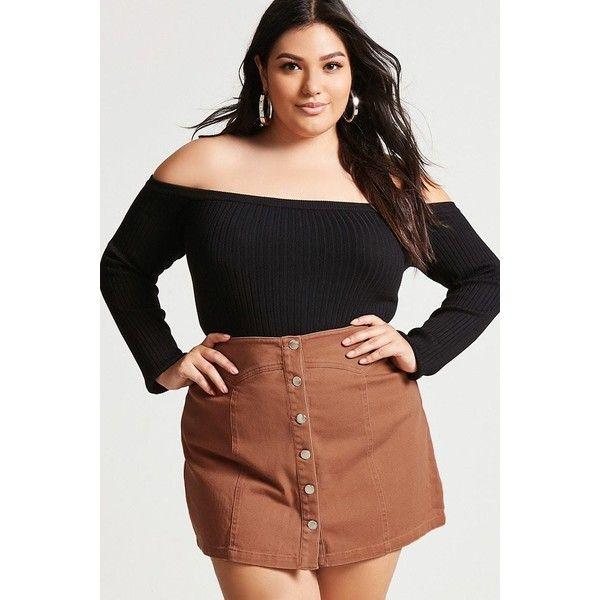 Forever21 Plus Size Denim Mini Skirt ($18) ❤ liked on Polyvore featuring plus size women's fashion, plus size clothing, plus size skirts, plus size mini skirts, ginger, forever 21 mini skirt, denim miniskirts, full length denim skirt, denim mini skirt and denim skirt