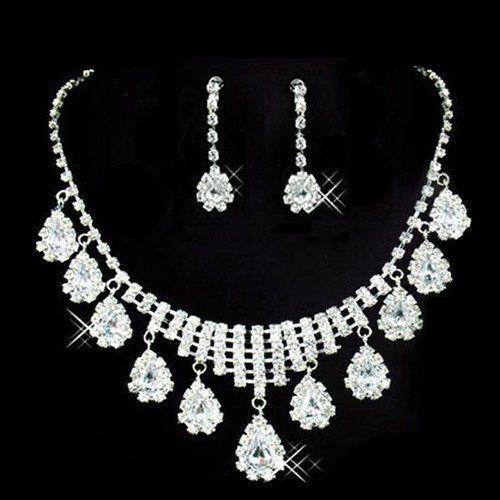 Oval Drop Crystal Rhinestone Pendant Necklace Earring Wedding Set – UCHARMME.co.nz