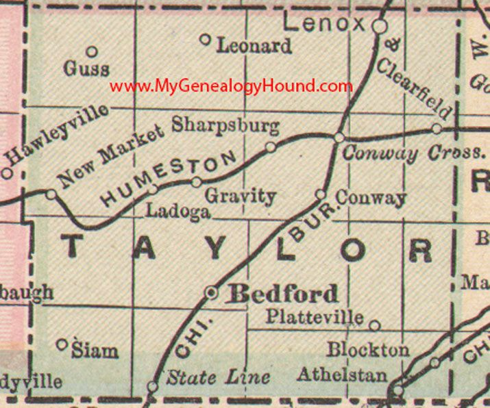 Taylor County, Iowa 1905 Map Bedford, Lenox, Gravity, Clearfield, Conway, New Market, Blockton, Athelstan, Sharpsburg, IA