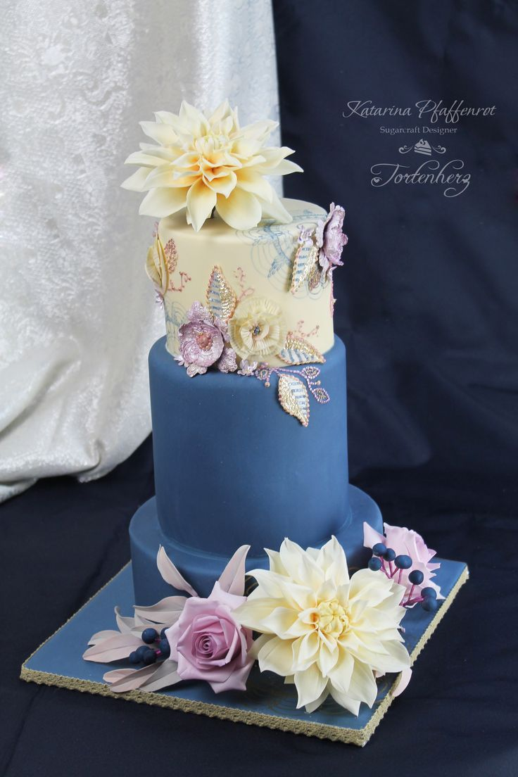 Wedding Cake Decorated With Sugar Flowers Hand Painting And Royal