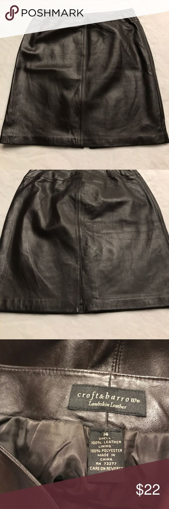 Croft & barrow Lambskin Leather Skirt Cute dark brown lambskin leather skirt length is 20 1/2.  Has zip up side. croft & barrow Skirts