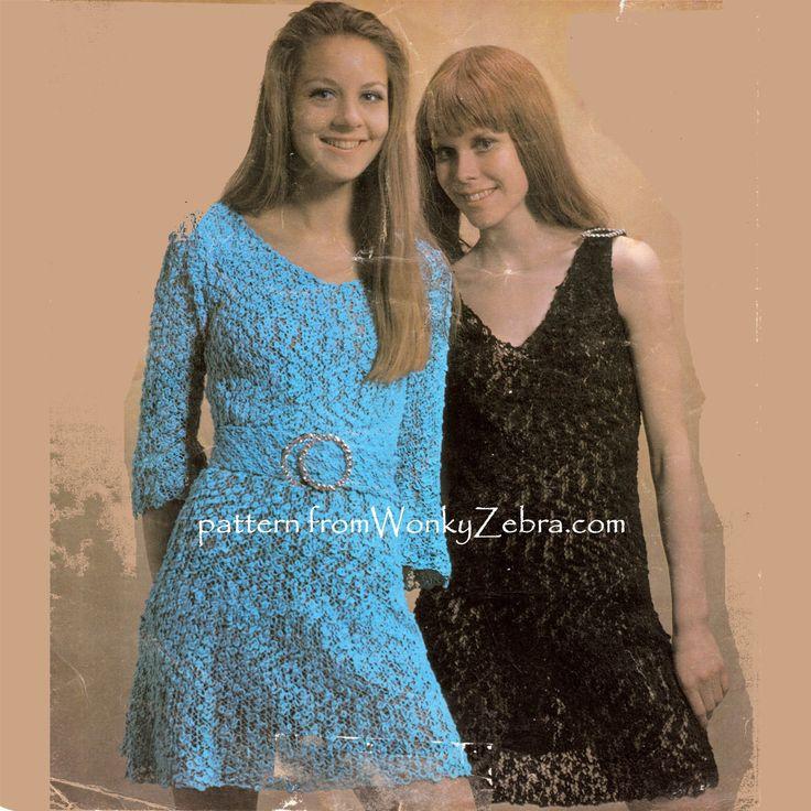 "WZ919 A delicate sexy mod dress to knit in Twilleys ""bubbly"" cotton.A beautiful shape. WonkyZebra PDF pattern by email"