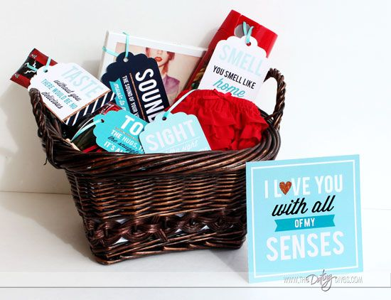 Romantic Gift Basket for Him- great anniversary gift idea.  The Five Senses Gift.