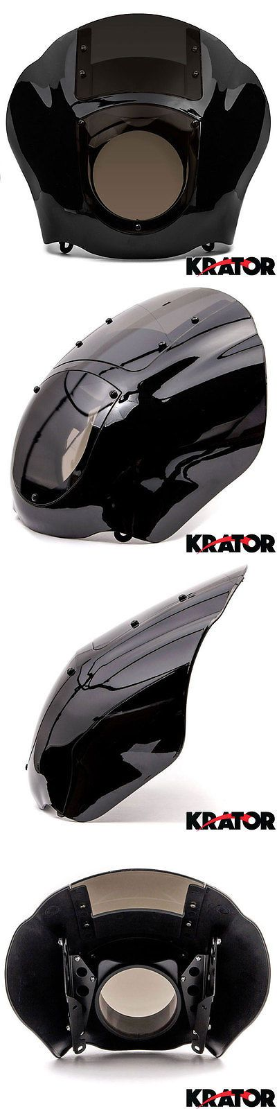 motorcycle parts: Black Front Headlight Fairing Smoke Cowl Mount For Harley Sportster Dyna Fxr Xl -> BUY IT NOW ONLY: $56.83 on eBay!