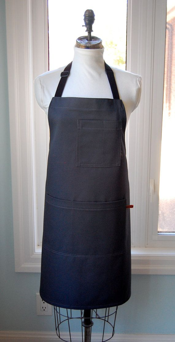 Sturdy Grey Twill Shop/Waiters Apron  heavy cotton by SewAliceBibs, $35.00