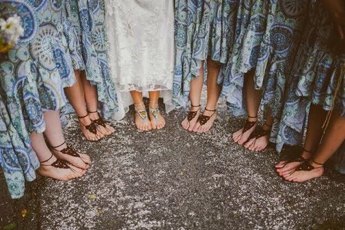 Bridesmaids dress colors are awesome, also LOVE THE BAREFOOT SHOES!