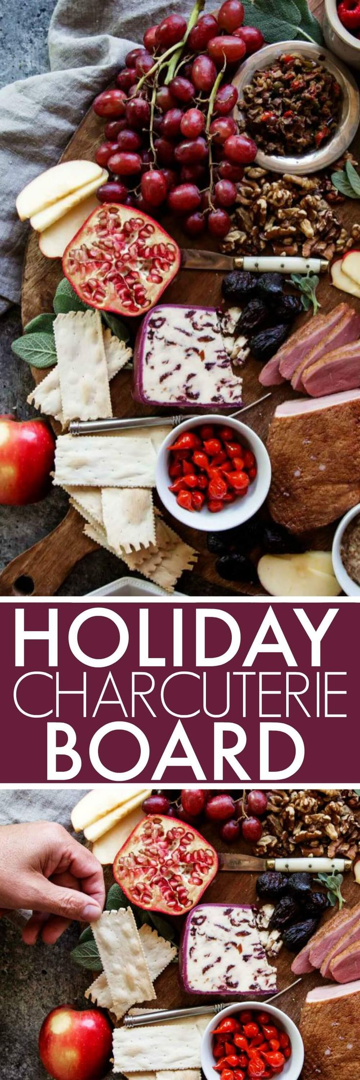 Learn how to create the perfect Holiday Charcuterie Board in just four simple steps. Assemble a beautiful and elegant spread with fresh fruits, cheeses and fresh herbs. #charcuterie #cheeseboard #appetizer #holidayappetizer via @platingspairing
