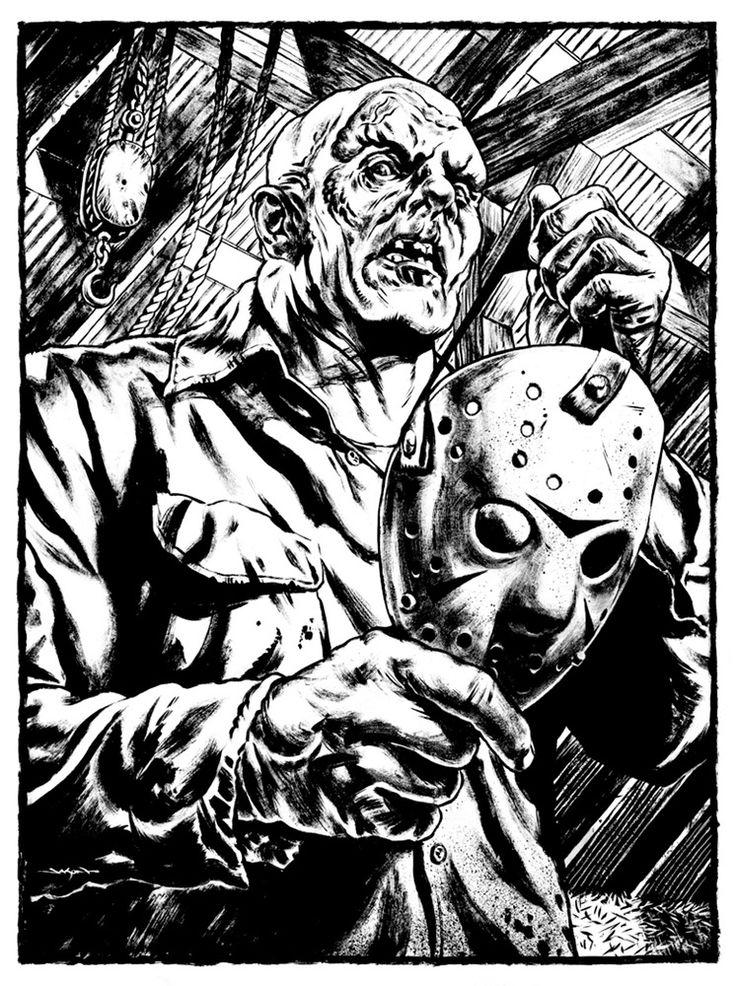 Jason Edmiston S Art Store Jason Voorhees Unmasked 13 X 17 Original Inked Art Horror Icons Art Horror Movie Tattoos Horror Artwork
