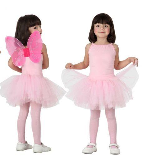 Ballet danseres roze kostuum voor meisjes. Roze balletdanseres pakje met tutu voor meisjes. Excl. vleugels.