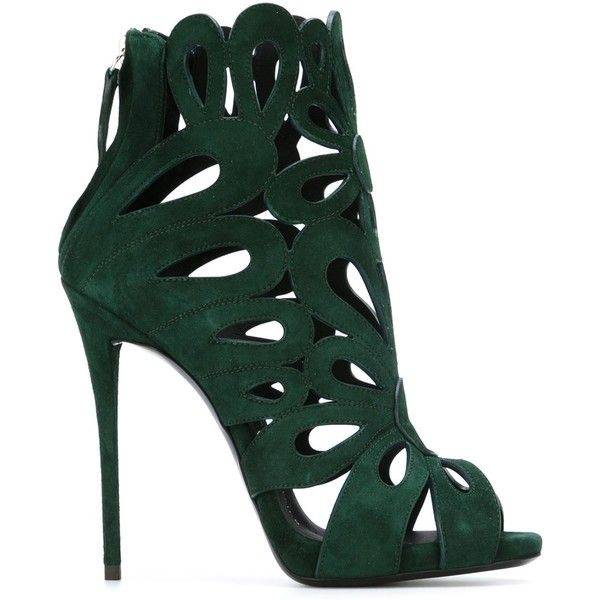 Giuseppe Zanotti Design Rear Zip Sandals (€615) ❤ liked on Polyvore featuring shoes, sandals, heels, giuseppe zanotti, green, cut out sandals, green heeled shoes, leather shoes, leather sandals and green shoes