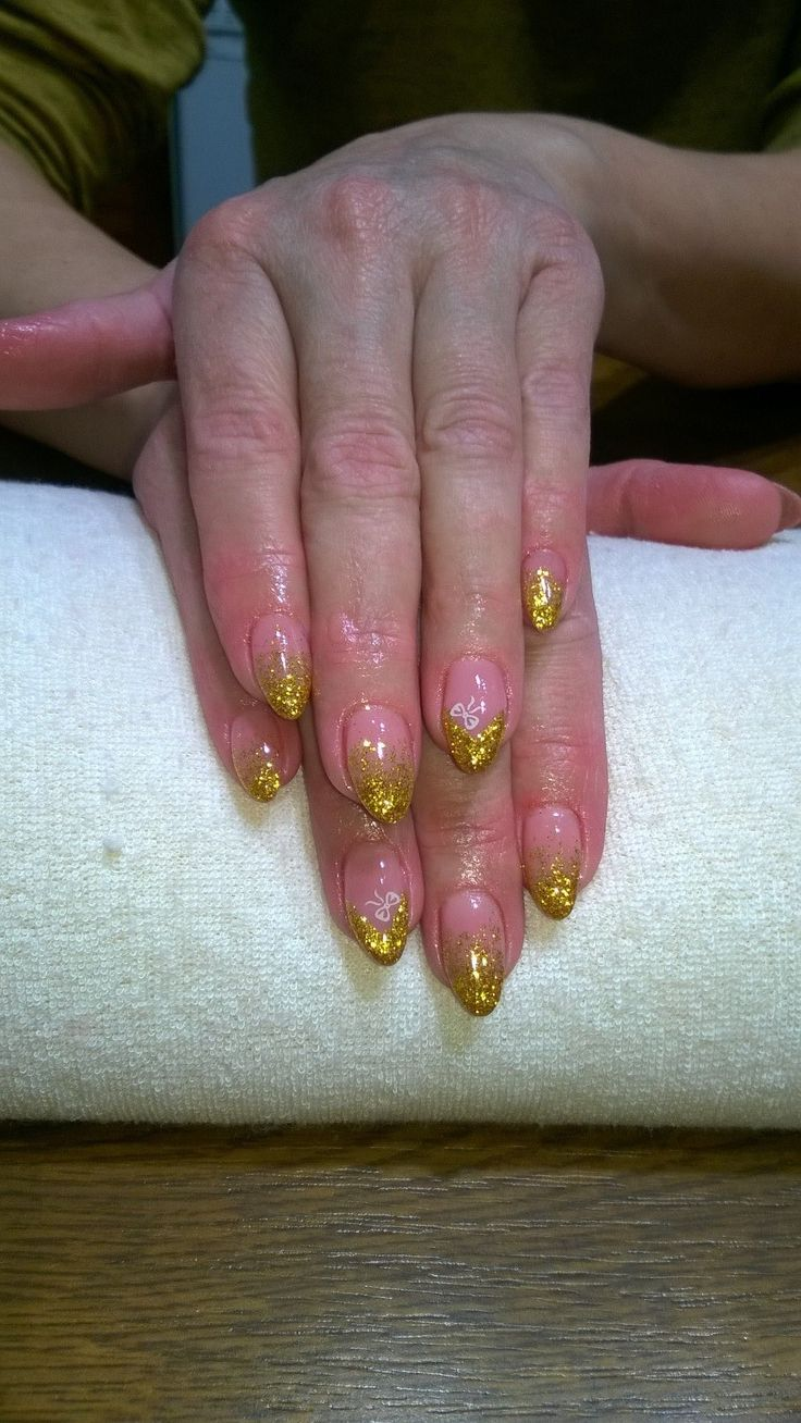 gold glitter and white bow