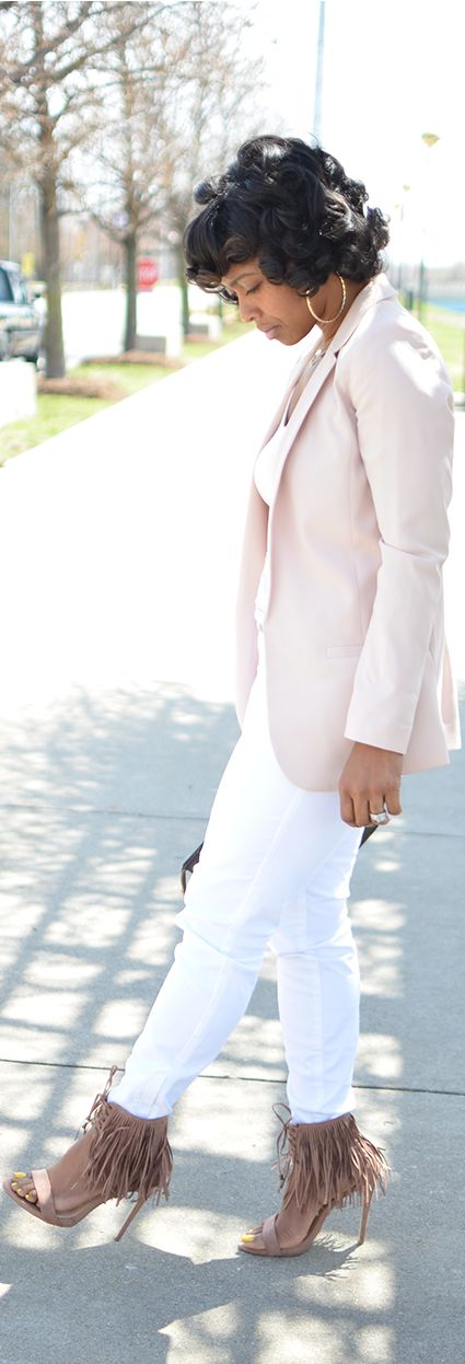 How to wear White Jeans, Blazer, Spring Outfit Idea