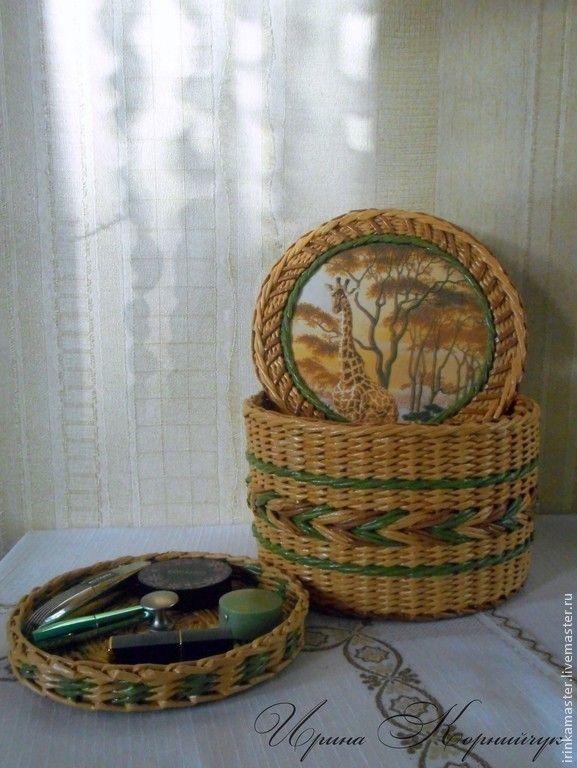 """Шкатулка для хранения """"Саванна"""" - разноцветный,плетение,плетение из бумаги"""