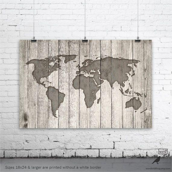 Rustic World Map Poster Vintage Map of the World por WordBirdShop