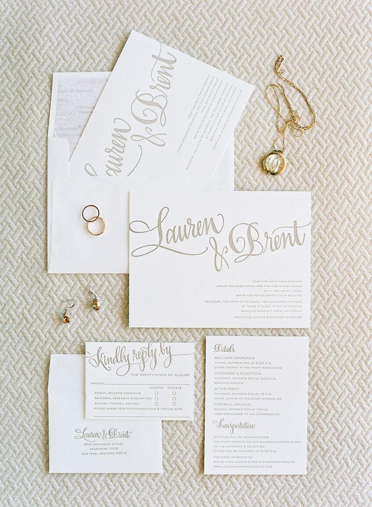 Modern letterpress invitation suite: http://www.stylemepretty.com/2016/04/26/letterpress-wedding-invitations-to-inspire-your-celebration/