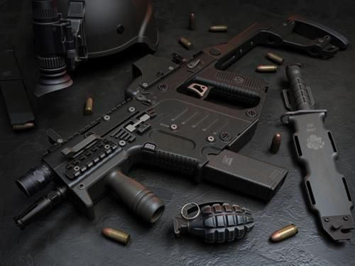 Vector Submachine Gun | 500px-The_Vector_Submachine_Gun.jpg  a awesome Vector K-10 submachine gun with M2 pineapple grenade(which is odd because they when out of style in the 70s or so) and a combat knife and tactical helmet