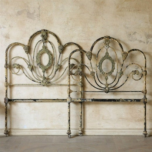 vintage twin wrought iron beds $600