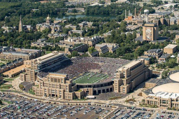 Sep 2, 2017; South Bend, IN, USA; An aerial view of Notre Dame Stadium before the game between the Notre Dame Fighting Irish and the Temple Owls. Mandatory Credit: Matt Cashore-USA TODAY Sports