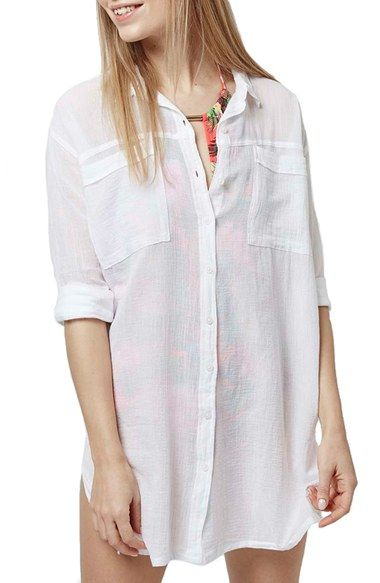 Topshop Crinkle Beach Shirt available at #Nordstrom
