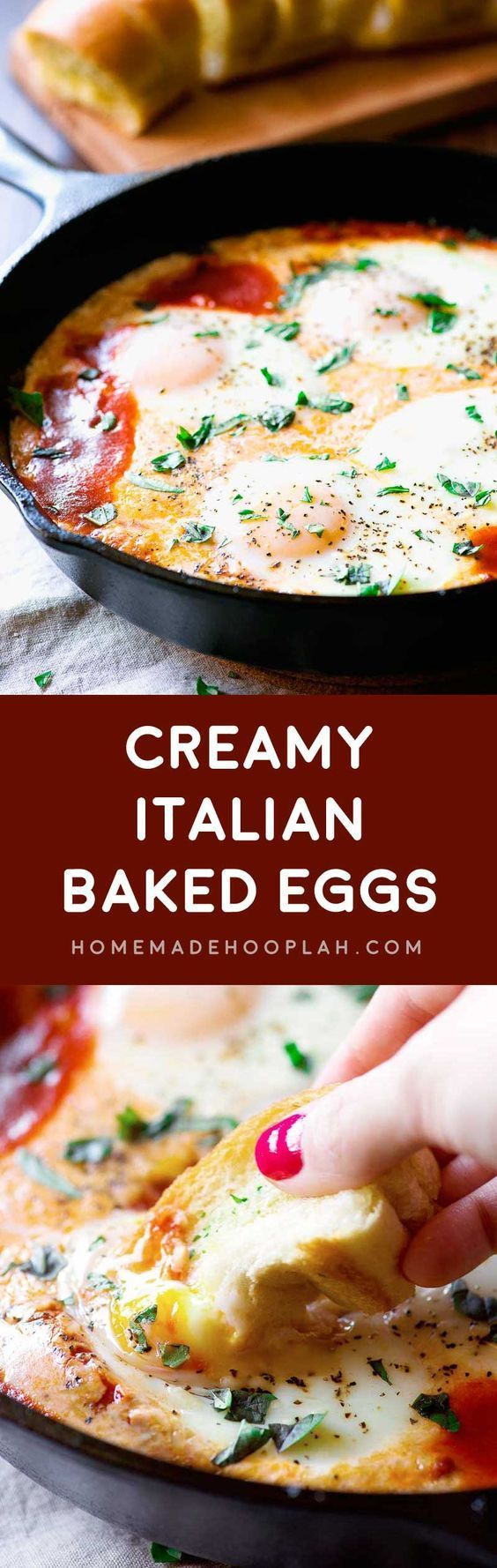 Creamy Italian Baked Eggs! Sunny side up eggs baked on a bed of marinara, milk, and cheese. Serve with garlic bread for that extra dose of Italian flair. | HomemadeHooplah.com
