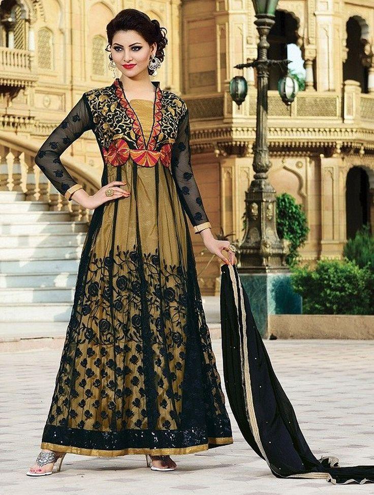 Black & Beige Fancy Embroidered Anarkali Suit