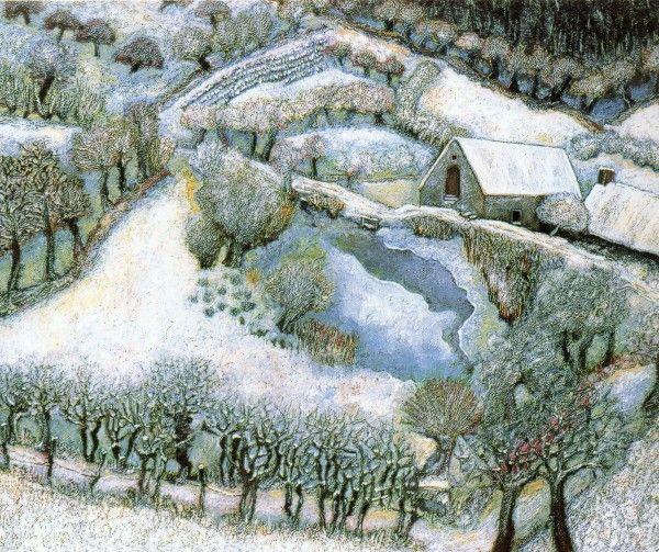 le moulin sous la neige de Lucien Pouëdras