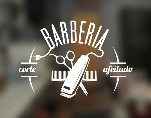 . Vinilo para Barberías decoración vidrieras, escaparates y paredes interiores 04396