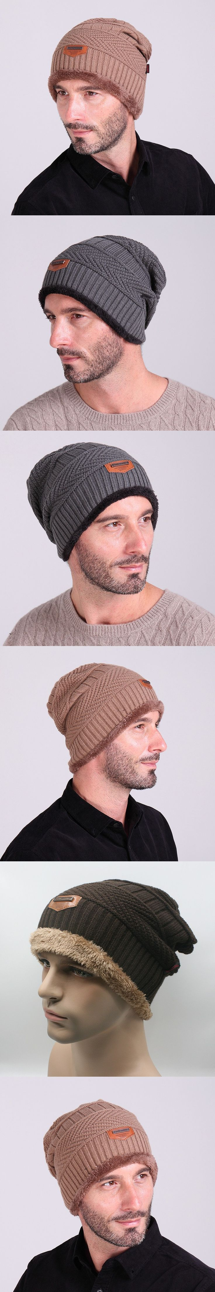 2016 Casual Men Winter Hat Knitted Cap with Warm Plush Hats for Men Beanie Outdoor Solid Black Grey Free Shipping G00743 $7.92