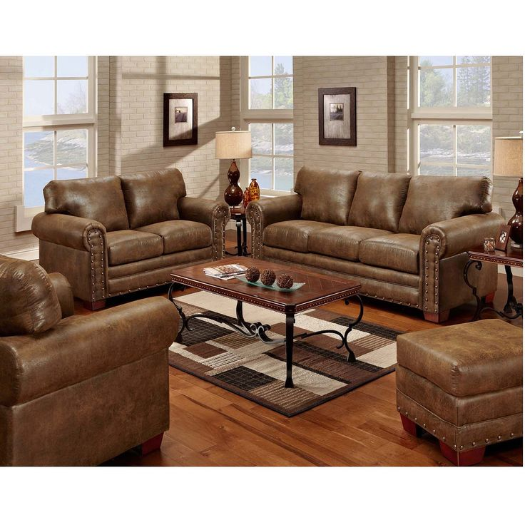 Buckskin nailhead living room set 4 pc sams club