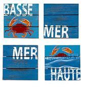 """Dessous de verre en bois """"Crabe BASSE MER"""""""