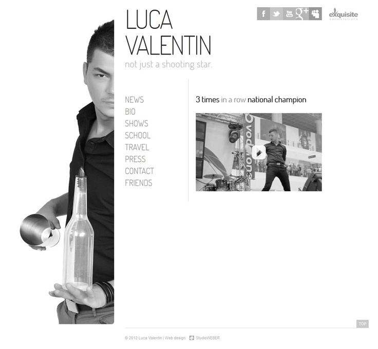 Presentation web site for a popular Romanian Flair Bar Tender. Simple, minimal style layout on Black/White accents: http://www.lucavalentin.ro