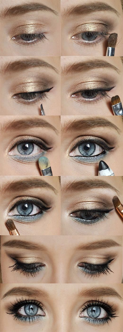 Gold and blue eye makeup for blue eyes