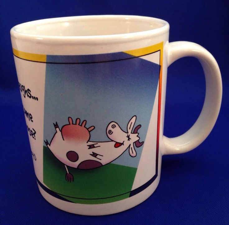 LEANIN TREE Cow Coffee Mug When A Cow Laughs Does Milk Come Out Her Nose? Snot #LeaninTree