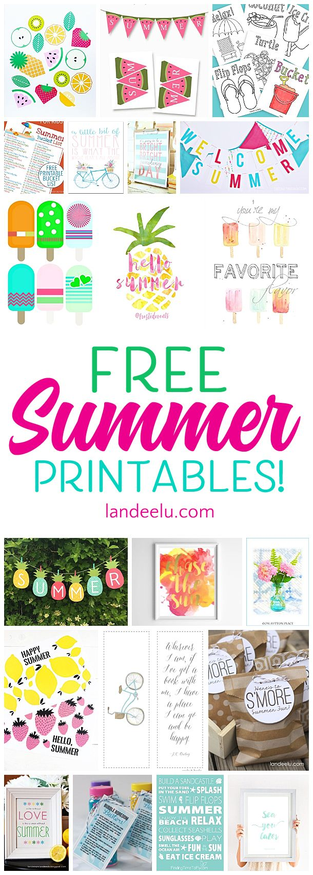 This is an awesome collection of free summer printables! Games, banners, bucket lists and more. So fun and useful for summer!