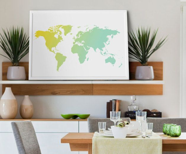 decoracin de pared mapa del mundo gigante para pared tamao xl hecho