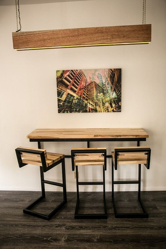 Barstool with Back  steel and wood by ZenboxDesign on Etsy