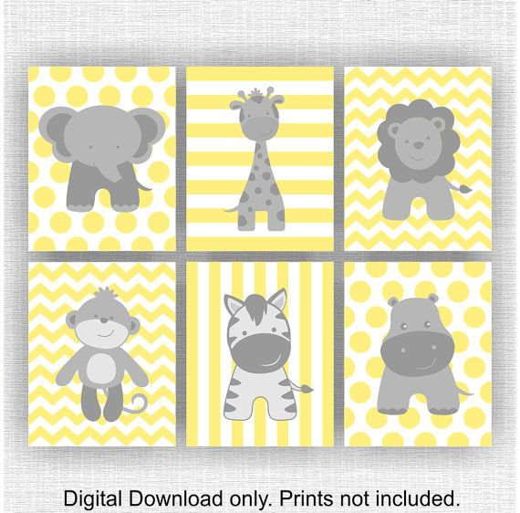 Dschungel Tiere, Elefant, Giraffe, Nilpferd, Löwe, Affe, Zebra, Chevron, gelb und grau, Baby BOY Wandkunst, Set 6, 8х10, sofort-download