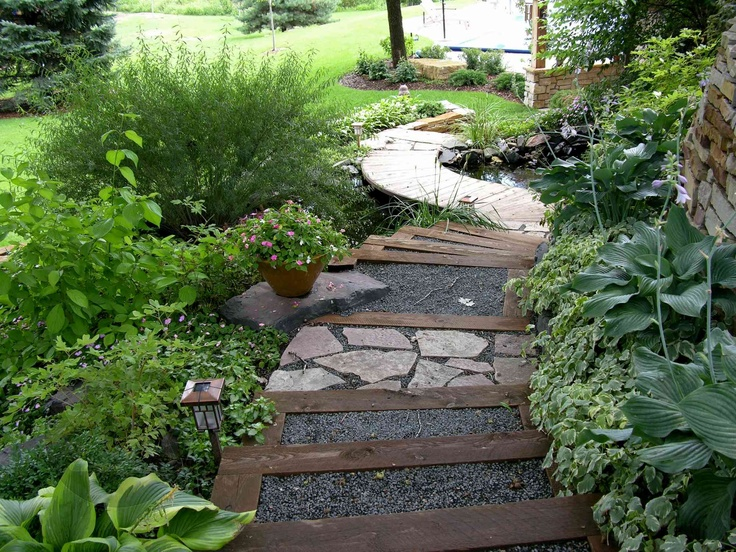 When combined with woodland plantings and Dwarf Arctic willow, these steps take on a cool calming Zen appeal.