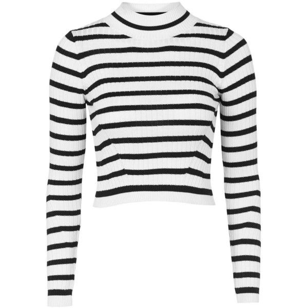 TopShop Petite Liquorice Stripe Jumper (155 RON) ❤ liked on Polyvore featuring tops, sweaters, crop tops, topshop, monochrome, white striped sweater, white jumper, white cropped sweater, white top and high neck crop top