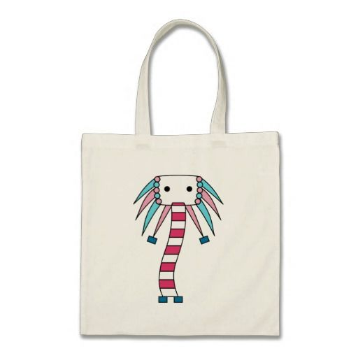 Colorful kawaii / cute cartoon character bags in blue and pink. Personalize by adding your own text, and/or scale/position the design to your liking.