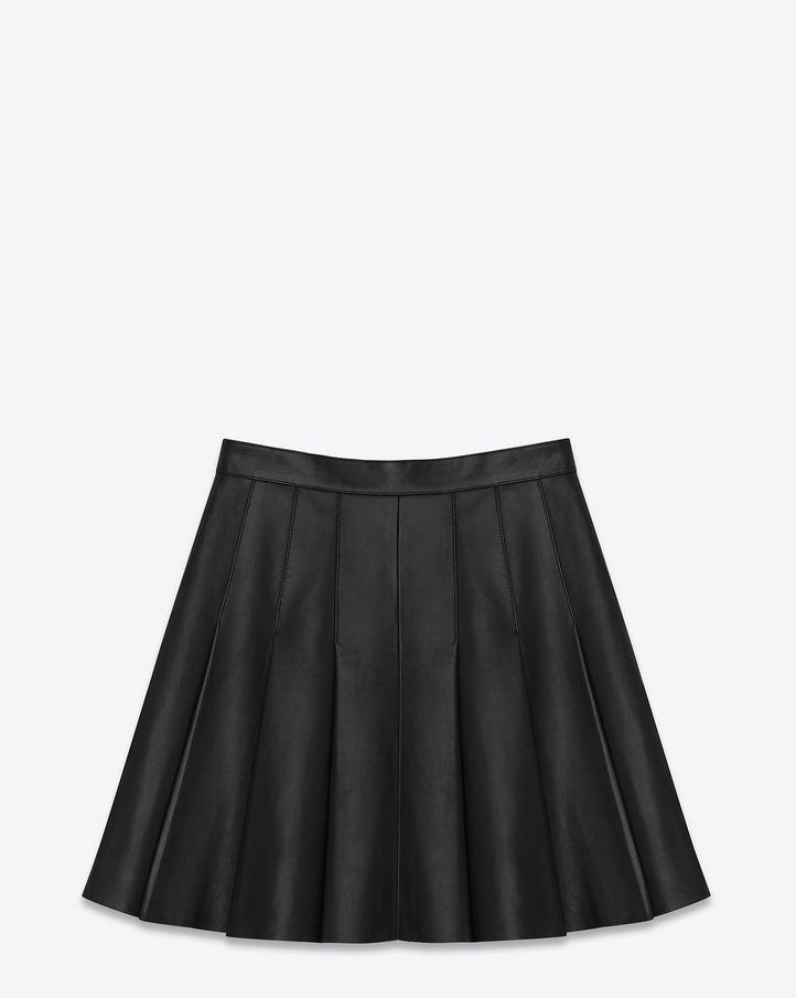 saintlaurent, Pleated Mini Skirt in Black Leather