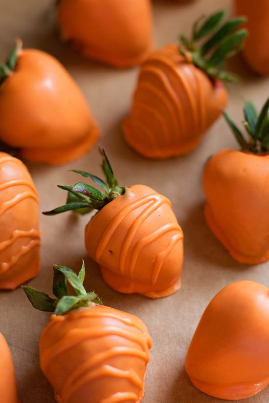 'Carrot patch' chocolate covered strawberries