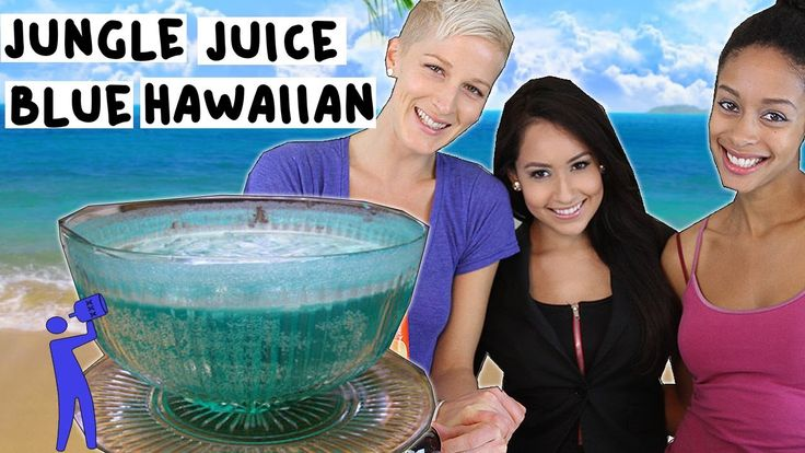 How to make a Jungle Juice Style Blue Hawaiian - Tipsy Bartender  1 bottle White Rum 2 bottles Coconut Rum 1 bottle Blue Curacao 2 cans of Pineapple Juice Pineapple Slices Orange Slices