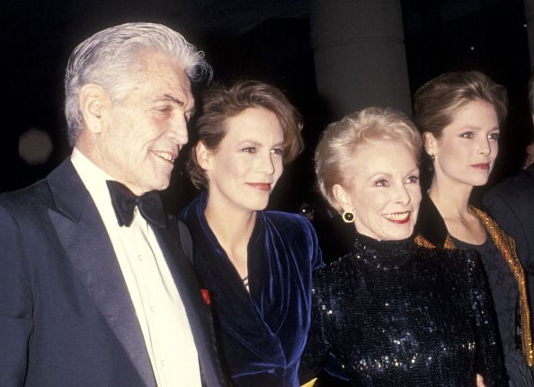 BEVERLY HILLS, CA - FEBRUARY 6: Actress Janet Leigh and husband Robert Brandt, her daughters actress Jamie Leigh Curtis and Kelly Curtis attend the 10th Annual American Cinema Awards on February 6, 1994 at Beverly Hilton Hotel in Beverly Hills, California. (Photo by Ron Galella, Ltd./WireImage)