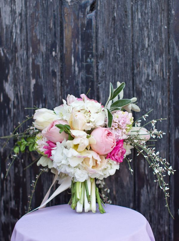spring may wedding flowers bouquet...Hydrangea, Ranunculus, Parrot tulips, Hyacinth, and Roses
