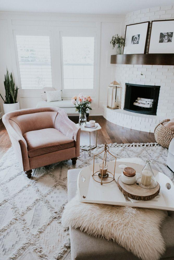 Living Room Decor #simple #pinks #velvets #homedecor Living Room